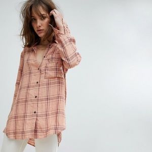 Free People no limits plaid collared button up